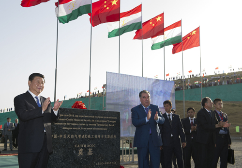 Chinese President Xi Jinping and his Tajik counterpart Emomali Rahmon attend the groundbreaking ceremony of the Tajikistan section of Line-D of the Central Asia-China gas pipelines in Dushanbe, capital of Tajikistan, on September 13 (HUANG JINGWEN)