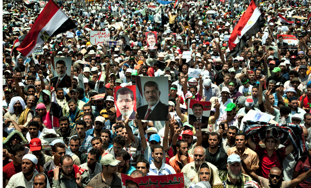 Supporters of President Morsi in Cairo in 2013. A member of the Muslim Brotherhood