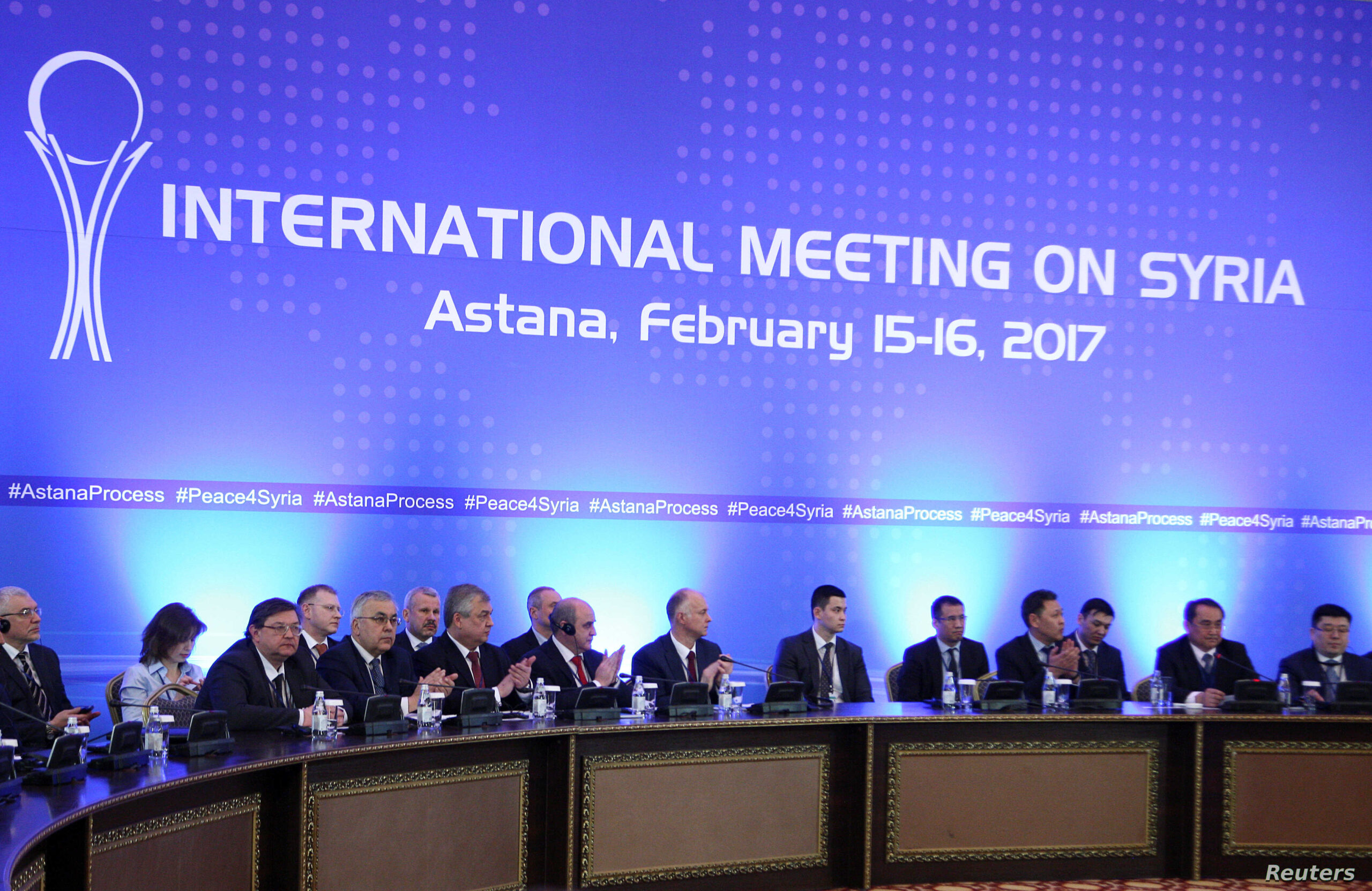 Share on Twitter Share via Email Print this page Middle East Astana Talks on Syria to Continue Despite Setbacks By Daniel Schearf February 18, 2017 07:26 PM Participants of Syria peace talks attend a meeting in Astana, Kazakhstan, Feb. 16, 2017. Participants of Syria peace talks attend a meeting in Astana, Kazakhstan, Feb. 16, 2017.