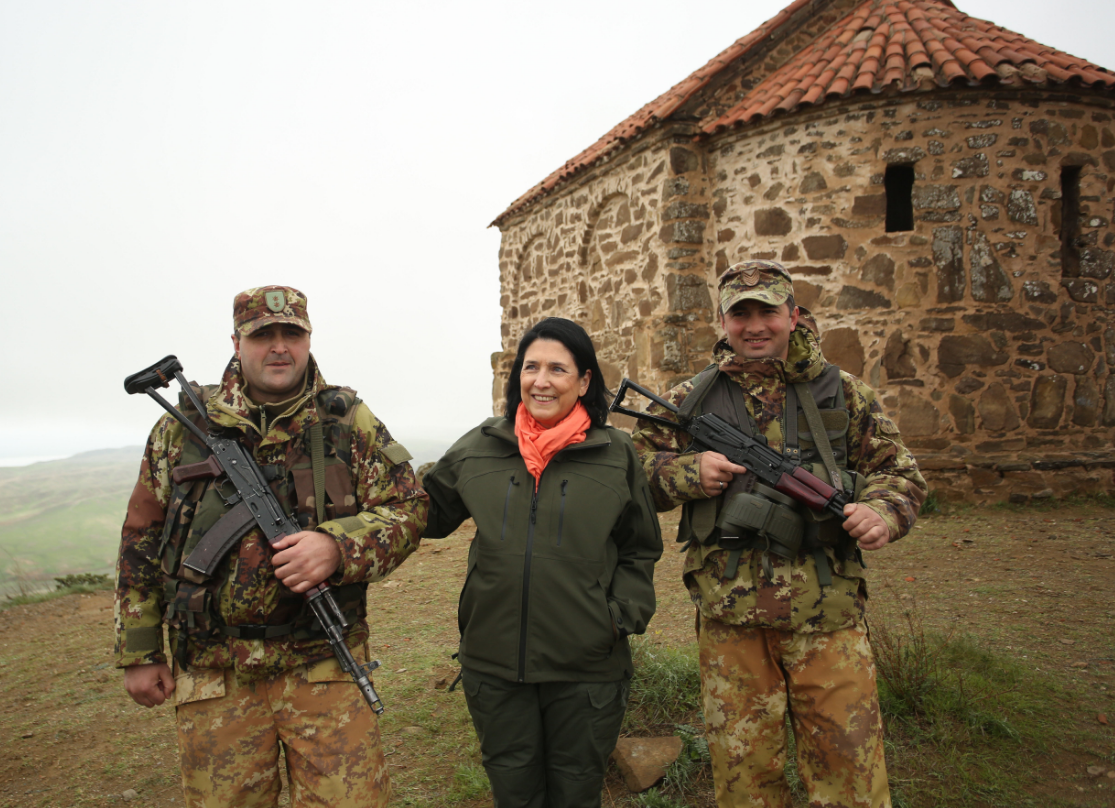Georgian President Salome Zourabichvili visits the Davit Gareja monastery on the border with Azerbaijan (President.gov.ge)
