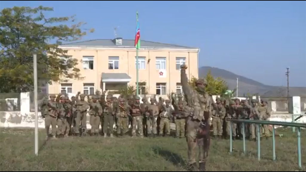 Screenshot of an official Azerbaijani video showing the capture of Zengilan.