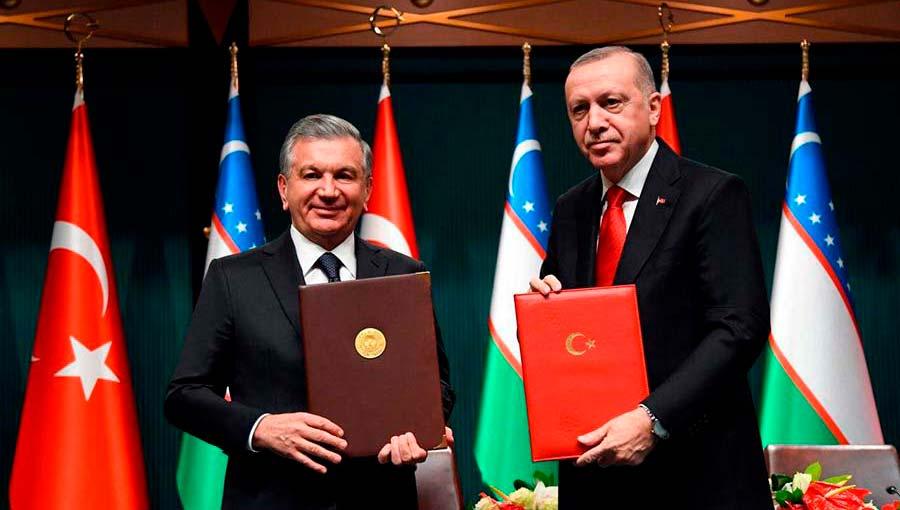 President Shavkat Mirzoyev and President Recep Tayyib Erdogan