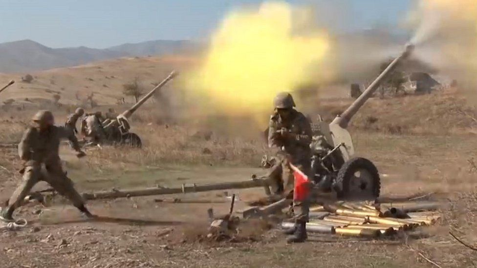 Azeri Artillery shelling Armenian positions (Photo: BBC)