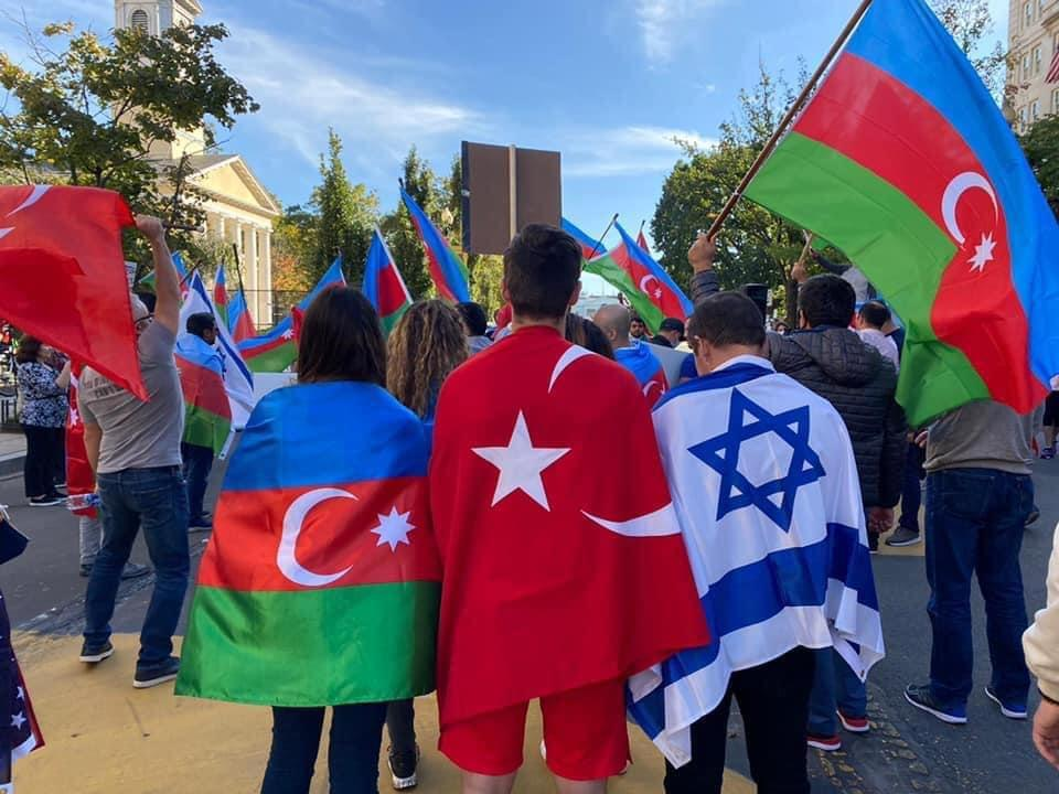 An image from a pro-Azerbaijani community protest in Washington DC (Photo credit: Jerusalem Post)