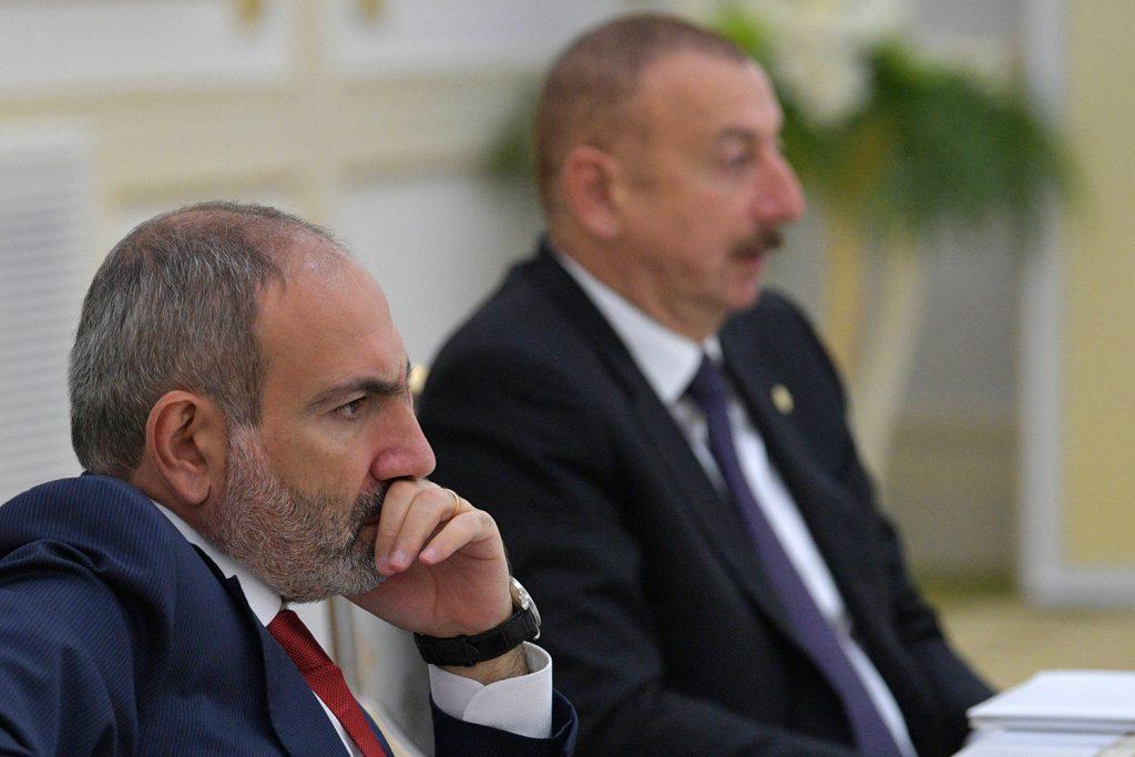 Armenia's Prime Minister Nikol Pashinyan and Azerbaijan's President Ilham Aliyev attend a meeting of heads of the Commonwealth of Independent States (CIS) in Ashgabat, Turkmenistan October 11, 2019. Sputnik/Alexei Druzhinin)